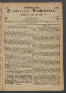 Grünberger Wochenblatt: Zeitung für Stadt und Land, No. 28. (8. April 1871)