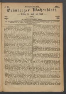 Grünberger Wochenblatt: Zeitung für Stadt und Land, No. 30. (16. April 1871)
