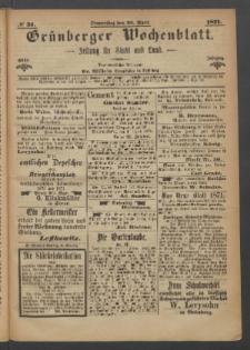 Grünberger Wochenblatt: Zeitung für Stadt und Land, No. 31. (20. April 1871)
