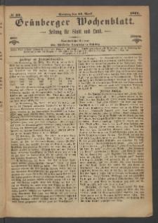 Grünberger Wochenblatt: Zeitung für Stadt und Land, No. 32. (23. April 1871)
