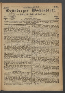 Grünberger Wochenblatt: Zeitung für Stadt und Land, No. 33. (27. April 1871)