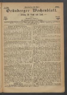Grünberger Wochenblatt: Zeitung für Stadt und Land, No. 34. (30. April 1871)