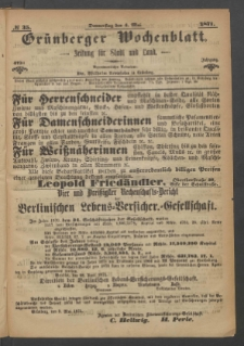 Grünberger Wochenblatt: Zeitung für Stadt und Land, No. 35. (4. Mai 1871)