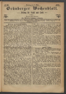 Grünberger Wochenblatt: Zeitung für Stadt und Land, No. 36. (7. Mai 1871)