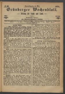 Grünberger Wochenblatt: Zeitung für Stadt und Land, No. 37. (11. Mai 1871)