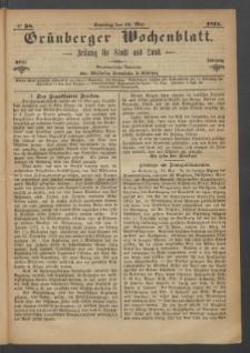 Grünberger Wochenblatt: Zeitung für Stadt und Land, No. 38. (14. Mai 1871)