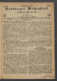 Grünberger Wochenblatt: Zeitung für Stadt und Land, No. 40. (21. Mai 1871)