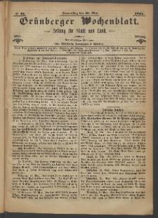 Grünberger Wochenblatt: Zeitung für Stadt und Land, No. 41. (25. Mai 1871)
