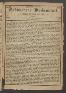 Grünberger Wochenblatt: Zeitung für Stadt und Land, No. 42. (27. Mai 1871)