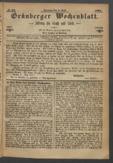 Grünberger Wochenblatt: Zeitung für Stadt und Land, No. 44. (4. Juni 1871)