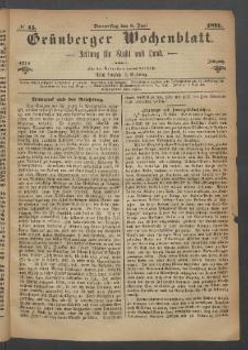 Grünberger Wochenblatt: Zeitung für Stadt und Land, No. 45. (8. Juni 1871)