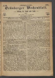 Grünberger Wochenblatt: Zeitung für Stadt und Land, No. 46. (11. Juni 1871)