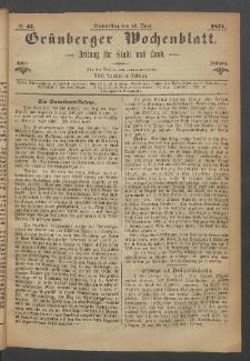 Grünberger Wochenblatt: Zeitung für Stadt und Land, No. 47. (15. Juni 1871)
