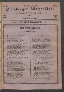 Grünberger Wochenblatt: Zeitung für Stadt und Land, No. 48. (18. Juni 1871)