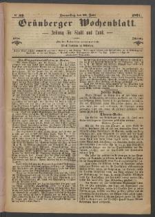 Grünberger Wochenblatt: Zeitung für Stadt und Land, No. 49. (22. Juni 1871)