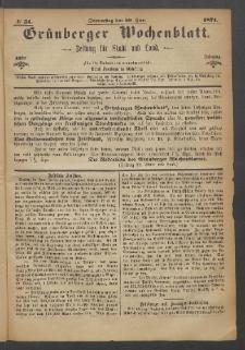 Grünberger Wochenblatt: Zeitung für Stadt und Land, No. 51. (29. Juni 1871)