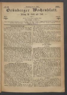 Grünberger Wochenblatt: Zeitung für Stadt und Land, No. 54. (9. Juli 1871)