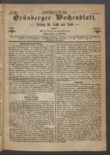 Grünberger Wochenblatt: Zeitung für Stadt und Land, No. 55. (13. Juli 1871)