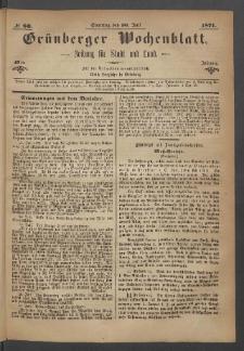 Grünberger Wochenblatt: Zeitung für Stadt und Land, No. 60. (30. Juli 1871)