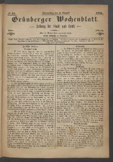 Grünberger Wochenblatt: Zeitung für Stadt und Land, No. 61. (3. August 1871)