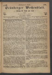Grünberger Wochenblatt: Zeitung für Stadt und Land, No. 62. (6. August 1871)