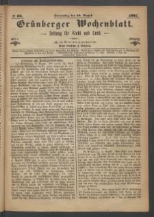 Grünberger Wochenblatt: Zeitung für Stadt und Land, No. 63. (10. August 1871)