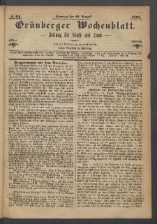 Grünberger Wochenblatt: Zeitung für Stadt und Land, No. 64. (13. August 1871)