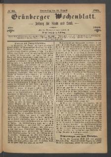 Grünberger Wochenblatt: Zeitung für Stadt und Land, No. 65. (17. August 1871)