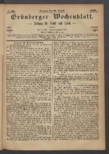 Grünberger Wochenblatt: Zeitung für Stadt und Land, No. 66. (20. August 1871)