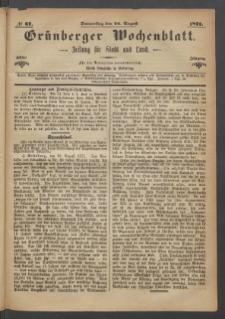 Grünberger Wochenblatt: Zeitung für Stadt und Land, No. 67. (24. August 1871)