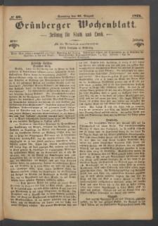 Grünberger Wochenblatt: Zeitung für Stadt und Land, No. 68. (27. August 1871)