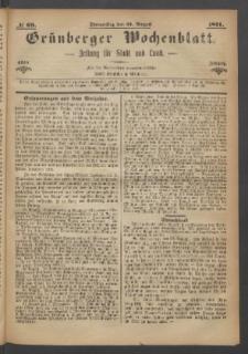 Grünberger Wochenblatt: Zeitung für Stadt und Land, No. 69. (31. August 1871)