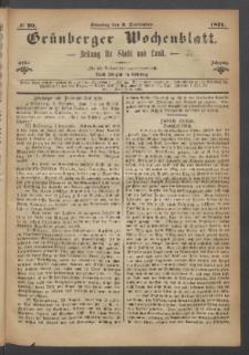 Grünberger Wochenblatt: Zeitung für Stadt und Land, No. 70. (3. September 1871)