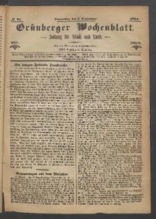 Grünberger Wochenblatt: Zeitung für Stadt und Land, No. 71. (7. September 1871)