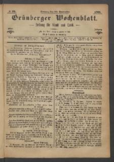 Grünberger Wochenblatt: Zeitung für Stadt und Land, No. 72. (10. September 1871)