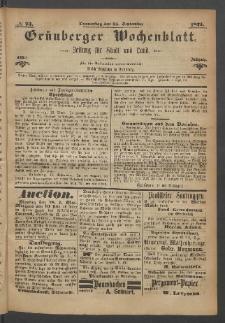 Grünberger Wochenblatt: Zeitung für Stadt und Land, No. 73. (14. September 1871)
