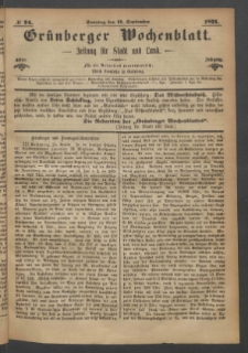 Grünberger Wochenblatt: Zeitung für Stadt und Land, No. 74. (17. September 1871)