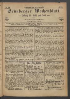 Grünberger Wochenblatt: Zeitung für Stadt und Land, No. 75. (21. September 1871)