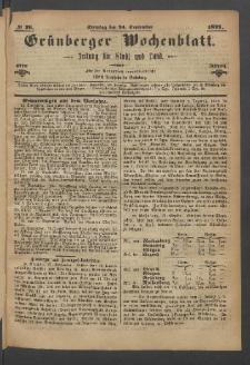 Grünberger Wochenblatt: Zeitung für Stadt und Land, No. 76. (24. September 1871)