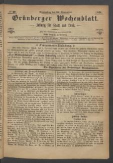 Grünberger Wochenblatt: Zeitung für Stadt und Land, No. 77. (27. September 1871)