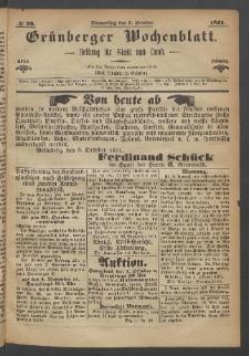 Grünberger Wochenblatt: Zeitung für Stadt und Land, No. 79. (5. October 1871)
