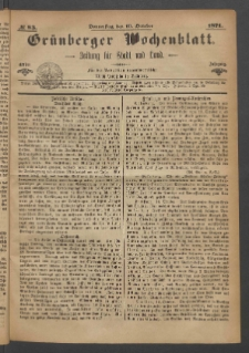 Grünberger Wochenblatt: Zeitung für Stadt und Land, No. 83. (19. October 1871)
