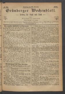 Grünberger Wochenblatt: Zeitung für Stadt und Land, No. 84. (22. October 1871)