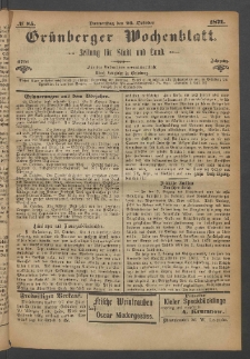 Grünberger Wochenblatt: Zeitung für Stadt und Land, No. 85. (26. October 1871)