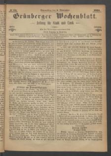 Grünberger Wochenblatt: Zeitung für Stadt und Land, No. 87. (2. November 1871)