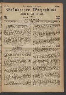 Grünberger Wochenblatt: Zeitung für Stadt und Land, No. 89. (9. November 1871)