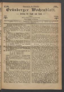 Grünberger Wochenblatt: Zeitung für Stadt und Land, No. 90. (12. November 1871)