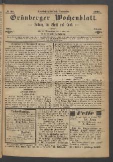 Grünberger Wochenblatt: Zeitung für Stadt und Land, No. 91. (16. November 1871)