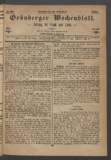 Grünberger Wochenblatt: Zeitung für Stadt und Land, No. 92. (19. November 1871)