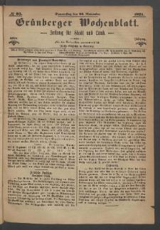 Grünberger Wochenblatt: Zeitung für Stadt und Land, No. 93. (23. November 1871)